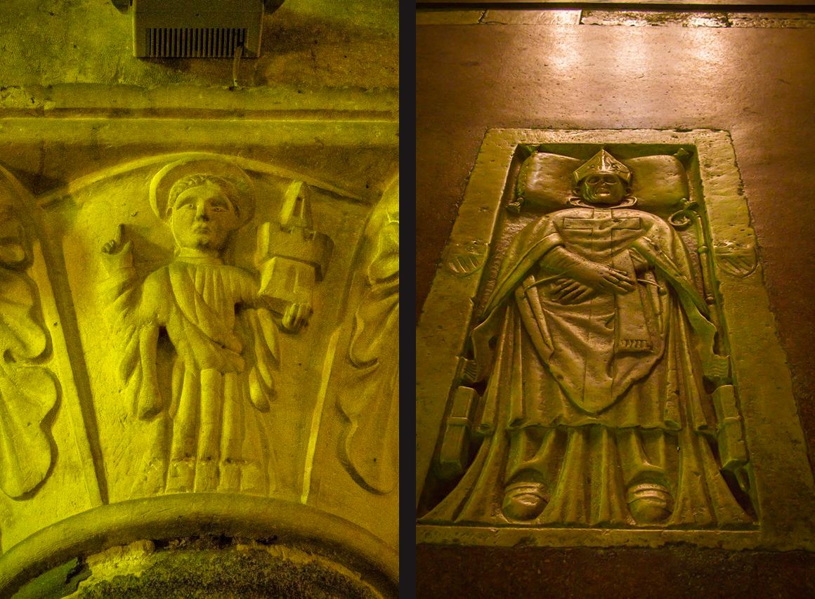 Украшения колонн и римский саркофаг в полу